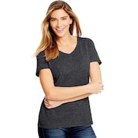 Hanes Women's X-Temp w/Fresh IQ Tri-Blend Performance V-Neck Tee - Size - S - Color - Slate Heather