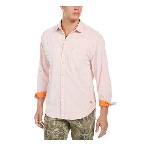 TOMMY BAHAMA Mens Coral Collared Cotton Dress Shirt S