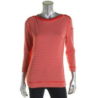 LRL Lauren Jeans Co. Womens Casual Top Seamed Striped