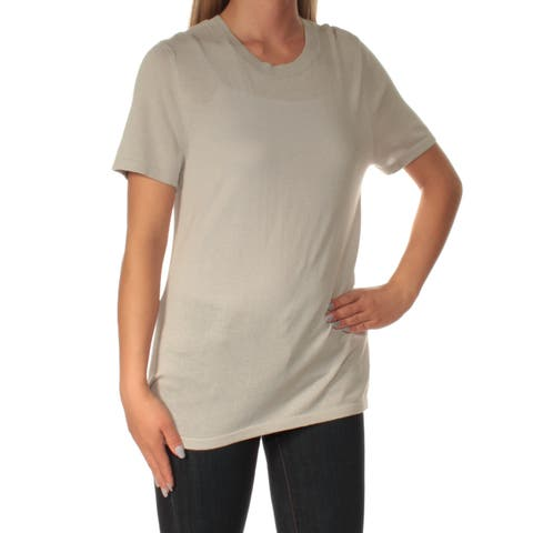 ANNE KLEIN Womens Gray Short Sleeve Jewel Neck Top Size: S