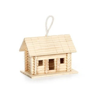 Darice Wood Log Cabin Bird House Unfnshd 6x4.5x4