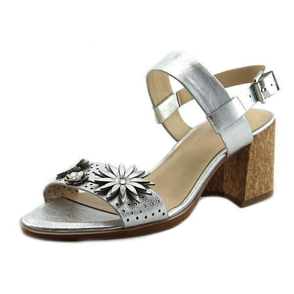 Isaac Mizrahi Franchesca Women Open Toe Leather Silver Sandals