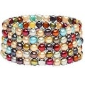 D'AMA Women's Pearl Bracelet - Easy-On Stretch 5 Strand With Stainless Steel Spacer Beads - Thumbnail 0