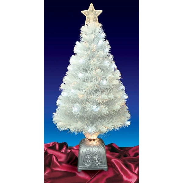3' Pre-Lit LED Color Changing White Fiber Optic Artificial Christmas Tree
