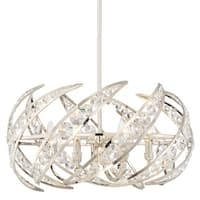 "Platinum PCCN2824 Crescent 6 Light 25"" Wide Single Tier Chandelier With Clear Glass - Polished Nickel"