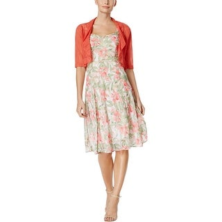 Connected Apparel Womens Dress With Cardigan Sleeveless Floral - 14