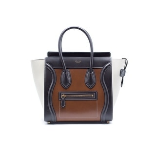 Celine Womens Chestnut Tricolor Micro Luggage Tote Bag - Brown