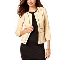 Kasper Womens Petites Open-Front Blazer Contrast Trim Business - 6P