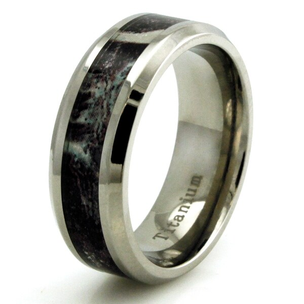 Titanium w/ Imitation Brown Marble Inlay Band Design Ring