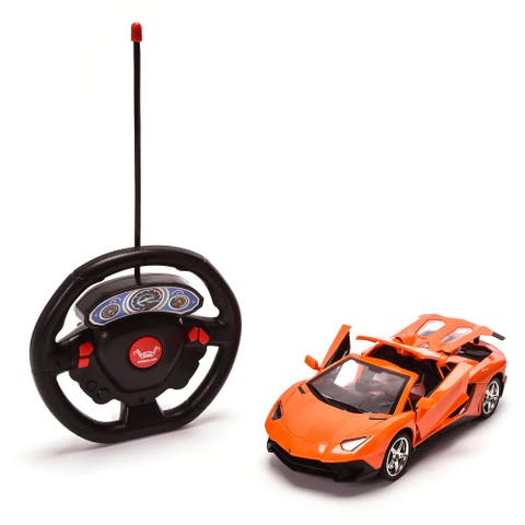 WonderPlay 27MHZ 1:18 Remote Control Car with Headlight & Openable Doors 6 Years + - Orange