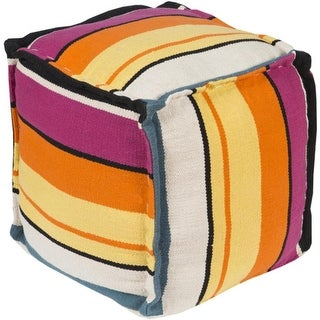 "18"" Pastel Orange, Yellow and Pink Retro Striped Square Outdoor Patio Pouf Ottoman"