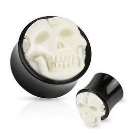 Bone Skull Hand Carved Inlay with Organic Horn Saddle Plug (Sold Individually)