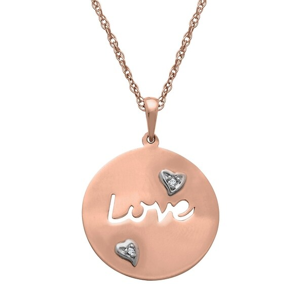 Script 'Love' Pendant with Diamonds in 10K Rose Gold