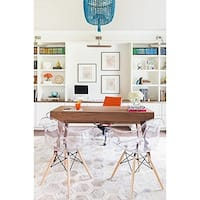 2xhome - Set of 2 Clear Modern Designer Acrylic Plastic Chair With Arms Dining Chairs Natural Wood Office Home - N/A