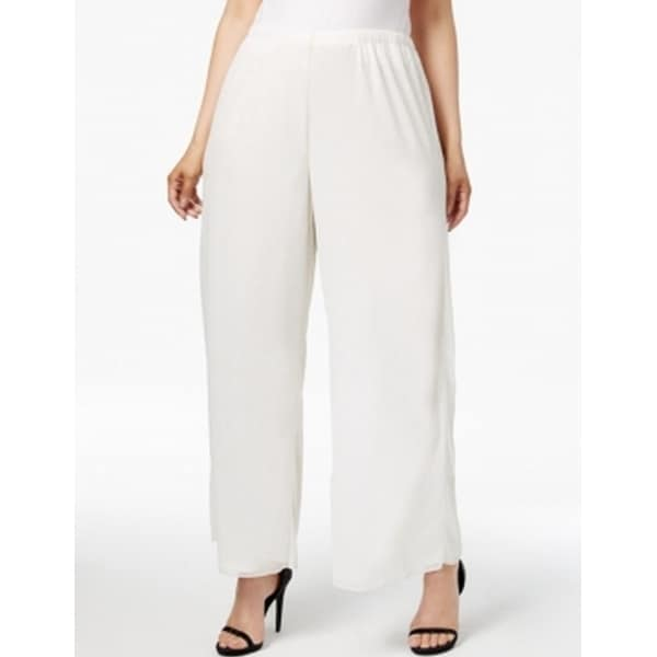 9818d210 Shop MSK NEW White Ivory Women Size 1X Plus Dress Mesh Wide-Leg Sparkle  Pants - Free Shipping On Orders Over $45 - Overstock - 18738284