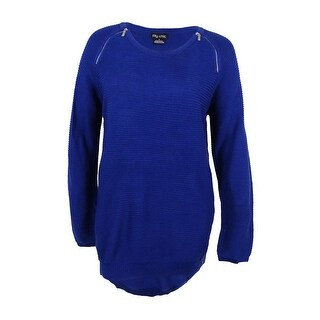 City Chic Women's Trendy Plus Size Zipper-Trim Sweater (S, Cobalt) - cobalt - 16W