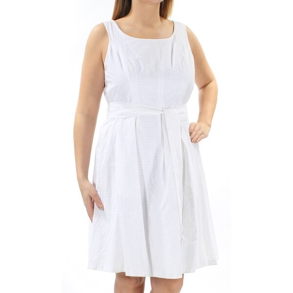 NINE WEST Womens White Pleated Tie Striped Sleeveless Jewel Neck Knee  Length Dress Size  14 785f2ddb0
