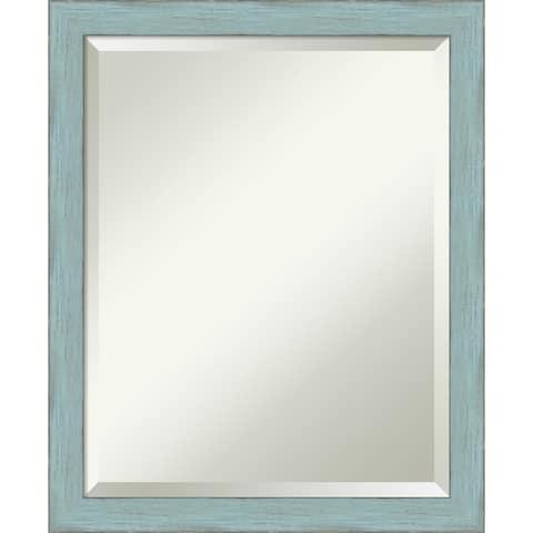 Wall Mirror, Sky Blue Rustic Wood