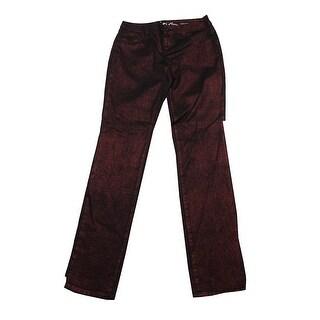 Inc International Concepts Wine Berry Metallic Skinny Jeans