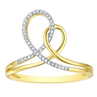 Prism Jewel 0 07Ct G H I1 Natural Diamond Double Heart Shaped Promise Ring