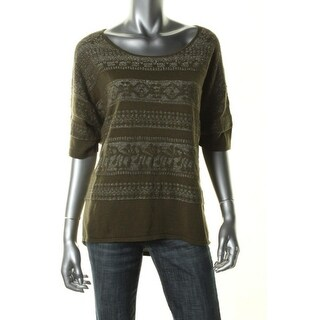 NY Collection Womens Pullover Sweater Metallic Short Sleeves - L