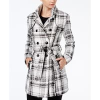 BCX Junior Plaid Belted Double-Breasted Peacoat