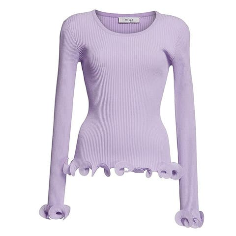 MILLY Lavender Wired Edge Ribbed Knit Pullover Sweater