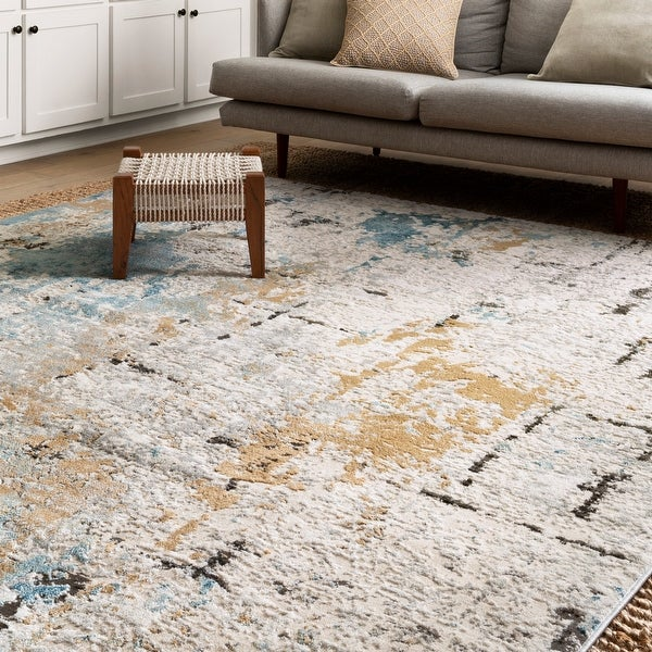 Alexander Home Keara Brushstroke Abstract Distressed Contemporary Rug. Opens flyout.