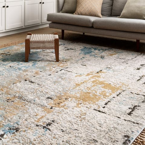 Alexander Home Keara Brushstroke Abstract Distressed Contemporary Rug