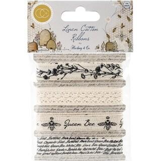 Craft Consortium Tell The Bees Cotton Linen Ribbon 4/Pkg-4 Designs/1M Each