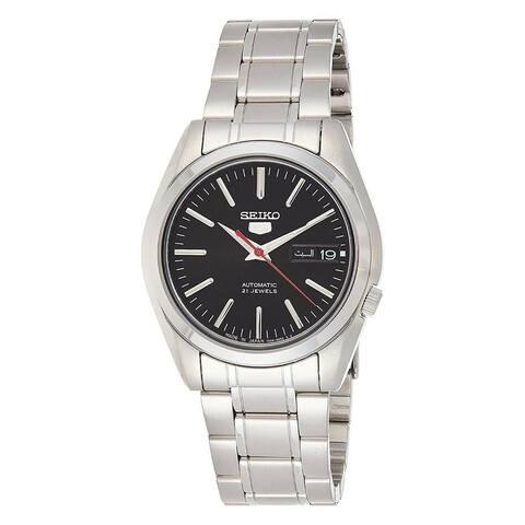 Seiko Men's SNKL45J1 'Seiko 5' Stainless Steel Watch - Black