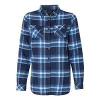 Women's Yarn-Dyed Long Sleeve Flannel Shirt - Blue/ White - S