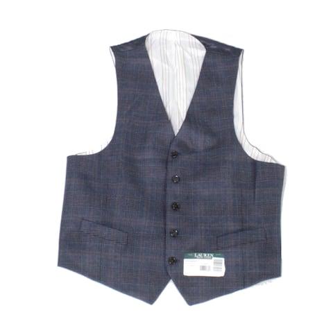 Lauren by Ralph Lauren Mens Vest Blue Size Large L Plaid Print Wool