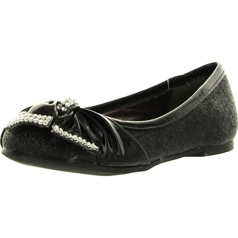 Lasonia Girls Flat Shoes With Bow And Rhinestone Accent