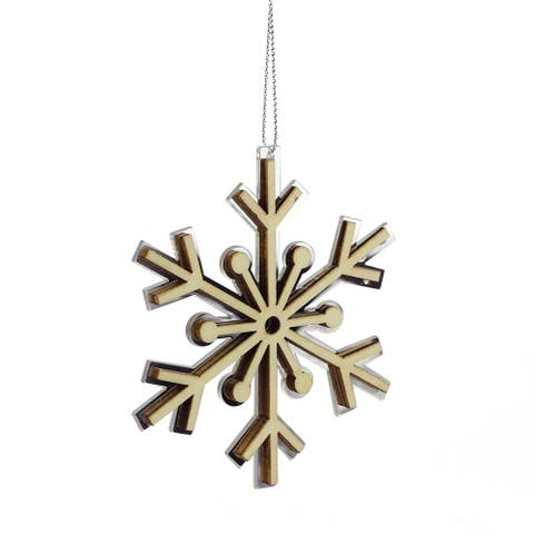"4"" Winter Light Rustic Wooden Mirrored Snowflake Christmas Ornament"