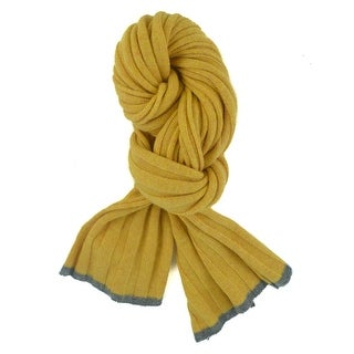 Brunello Cucinelli Yellow Cashmere Grey Trim Ribbed Knit Scarf