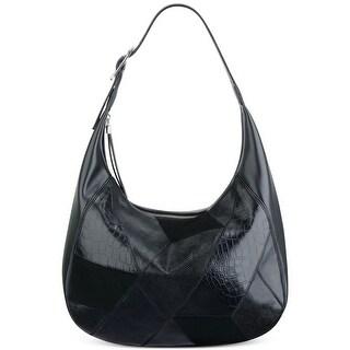 Nine West Womens Patchworks Hobo Handbag Faux Leather Mixed Media - Black - LARGE