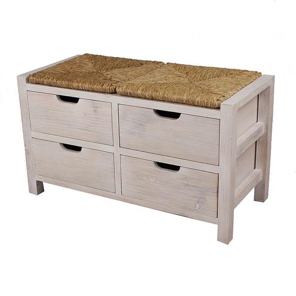 Top Storage Bench W/ 4 Drawers   Wood Mdf, Seagrass