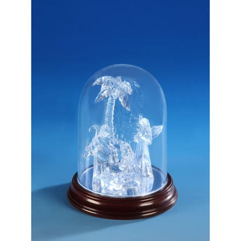 """Set of 2 Clear and Brown Sm. Nativity Dome Christmas LED Lighted Nativity Set Decor 6"""""""
