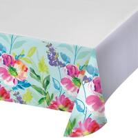 """Club Pack of 12 Blue and Green Painterly Floral Design Decorative Plastic Table Cover 102"""""""