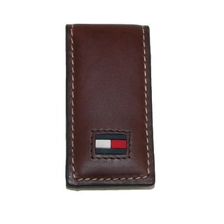 Tommy Hilfiger Men's Leather Square End Magnetic Money Clip - Brown - One Size