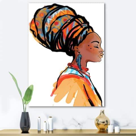 Designart 'African American Woman with Turban I' Modern Canvas Wall Art Print