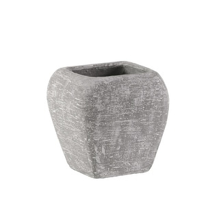 Cement Square Pot With Recessed Lip And Tapered Bottom, Small, Light Gray
