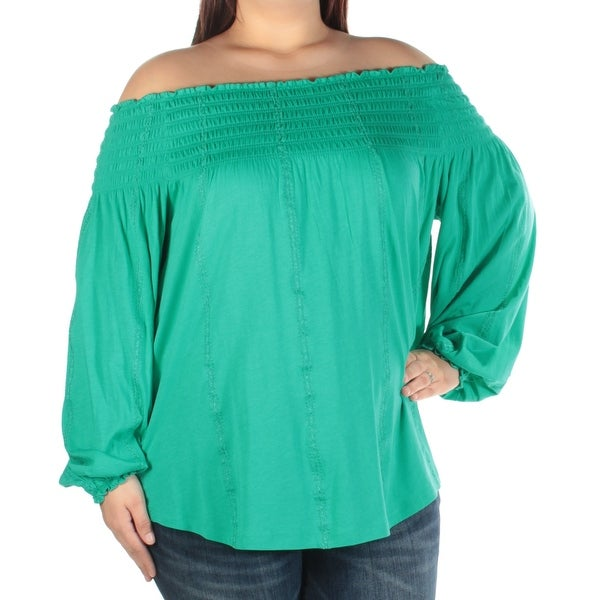 397508958762bd Shop Womens Turquoise Long Sleeve Off Shoulder Top Size XL - Free Shipping  On Orders Over $45 - Overstock - 22430524