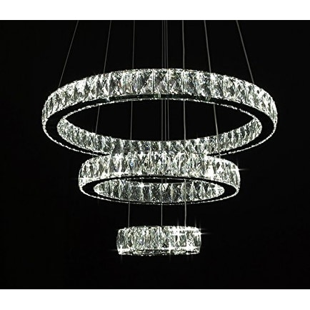 huge discount 1b271 9a6dc Crystal Elipse 3 Ring Chandelier LED Modern / Contemporary - Chrome
