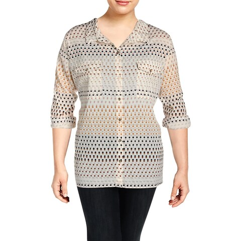 Tommy Hilfiger Womens Plus Button-Down Top Adjustable Sleeve Polka Dot