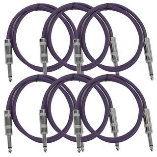"SEISMIC AUDIO 6 PACK Purple 1/4"" TS 2' Patch Cables - Guitar - Instrument"