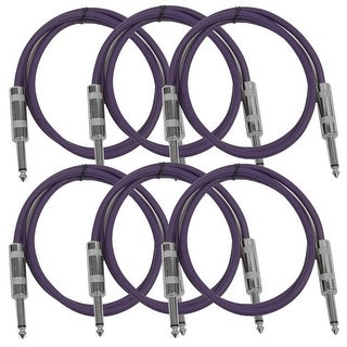 "SEISMIC AUDIO 6 PACK Purple 1/4"" TS 3' Patch Cables - Guitar - Instrument"