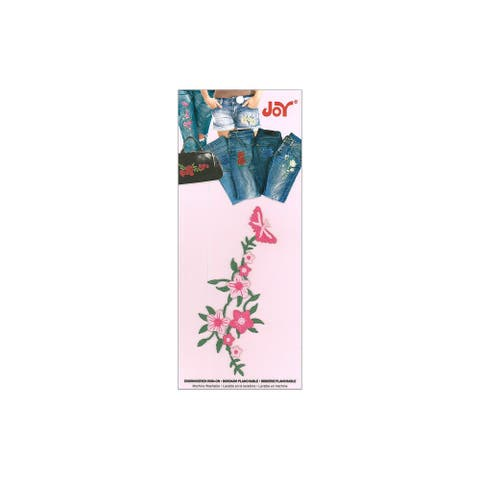 Joy Applique Iron On Butterfly Vine Pink