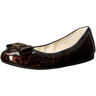 Cole Haan Womens Tali Bow Ballet Flats Patent Leather Tortoise Print